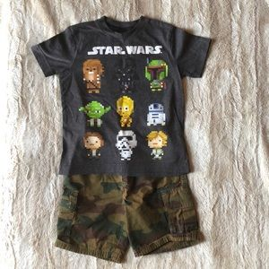 Boys camo place shorts (4) & Star Wars Old Navy